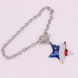 $enCountryForm.capitalKeyWord Canada - Fashion Hot Selling Rhodium Plated Zinc Studded With Sparkling Crystal American Flag Star Pentagram Pendant Bracelet