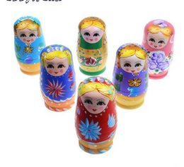 Doll Paintings NZ - 200Sets Lot 5 In 1 Wooden Russian Hand-painted Nesting Doll Matryoshka Doll Russian Doll Souvenirs For Children Christmas Present