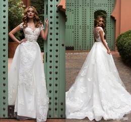 cd2ffa30716 2018 Mermaid Wedding Dresses Sheer Neck 3D Floral Appliques Lace Beaded  Sashes Overskirts Short Sleeves Detachable Train Custom Bridal Gowns