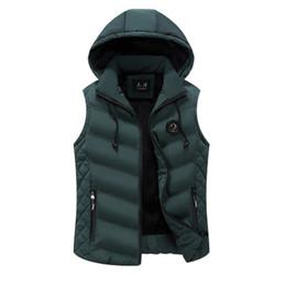 Wholesale warm vests for men resale online - Winter Warm Men Sleeveless Vest Men Cotton Hooded Jacket Male Zipper Waistcoat for Autumn Male Warm Vest for Men XL Hoodies Hot Sale