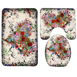 Shower mat online shopping - 3pcs Bathroom Mat Set Happy Valentines Day Flower Heart Pattern Bath Non Slip Shower Mat and Toilet Mat Sets