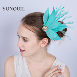 a871c1744eb68 NEW ARRIVAL multicolors nice emerald green imitation Sinamay fascinators hat  with feather for Kentucky Derby wedding party race Event SYF150