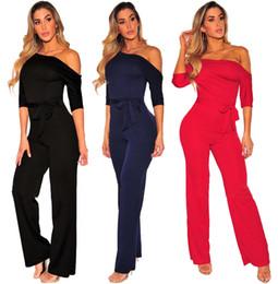 fdde9e02b0a Jumpsuits black online shopping - Elegant Women Slim Fit Bodysuits Fashion  Half Sleeveless Long pants Jumpsuits