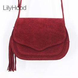 LilyHood 2017 Women Genuine Leather Saddle Bag Leisure Retro Bohemian  Hippie Ibiza Fringe Burgundy Cross Body Over Shoulder Bag 88db1ad792b8b
