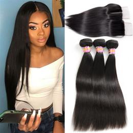 $enCountryForm.capitalKeyWord NZ - Indian Virgin Hair Straight Human Hair with Lace Closure 100% Unprocessed Straight Indian Virgin Hair Weave Natural Color SASSY GIYL