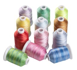 Wholesale SIMTHREAD Variegated Colors Polyester Embroidery Machine Thread M Spool