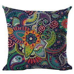 Discount blue throw pillows - 2018 Bohemian Pillow Case Geometric Pillowcase Cotton Linen Ethnic Pillow Cover Bedroom 45x45 Throw Pillows