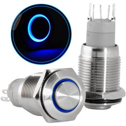 16mm push button switch online shopping - New mm V LED Light Latching Push Button Stainless Steel Power Switch Blue Light