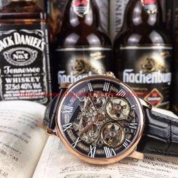 2018 классический ретро мода роскошные импортные автоматические механические двойной турбийон обратно через полые водонепроницаемый ремень мужские часы на Распродаже