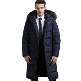 d5f171303bd Men s Winter Jacket Hot Sale Warm White Goose Down Man Coat Thick Long Hood  Pure Raccoon Fur Collar Parkas Plus Size
