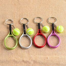 Keychain bucKle gold online shopping - Bardian Mini Tennis Racket Keychain Car Bag Pendant Keyring Fan Gift Creative Cute Sport Charm Ball Key Buckle mt Y
