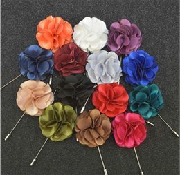 stick pin for suit UK - Luxury Flower Brooch lapel Pins Handmade Boutonniere Stick with fashion Satin flowers for Gentleman suit wear Men Accessories 20 colors