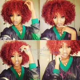 Pretty Hair For Australia - Classical Burgundy Short Curly Hair Fashion Synthetic Hair Wigs Woman Full Wig Suit for Daily Life Pretty Stylish Afro Full Wigs
