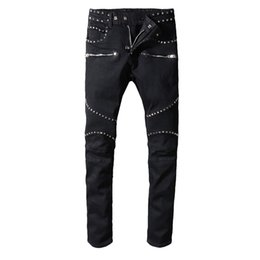 Chinese  2019 Balmain Men Distressed Ripped Jeans Fashion Designer Straight Jeans Causal Denim Pants Streetwear Style mens Jeans Cool manufacturers