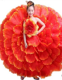 Wholesale performing clothing online – ideas 2017 New style children Cosplay gules Peony petals perform clothing girls Dance Conjoined clothes long paragraph