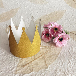 wholesale pirate dresses NZ - Fashion Gold Powder Crown Headband Children Adults Women Girls Hairband Birthday Hat Wedding Party Dress Decoration