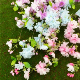 Fake Flower Stems Canada - New Arrivals 10pcs Cherry Flower Vine Fake Sakura Tree Stem Cherry Tree Branches with Green Leaf & Buds 150cm Long 4 Colors