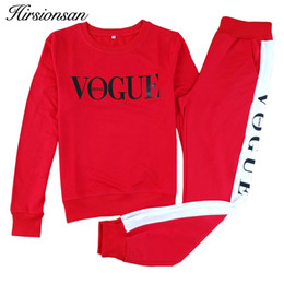 SportS coStume woman online shopping - Hirsionsan Autumn Winter Costumes Women Two Piece Set Vogue Sportswear Suit Casual Tracksuit Long Sleeve Sporting Outfit