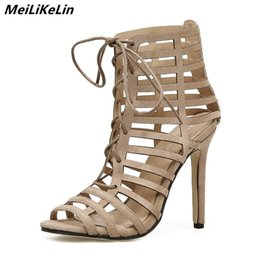 48ac828ee177 Caged Shoes Australia - Lace-up sandals women Caged heels summer ankle  boots woman narrow