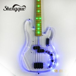 Light guitar strings online shopping - factroy custom acrylic body bass strings Jazz bass with LED lights arcrylic guitars musical instruments shop