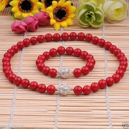 genuine pearl jewelry sets Australia - 8MM GENUINE CORAL RED SOUTH SEA SHELL PEARL NECKLACE BRACELET JEWELRY SET 18''