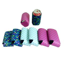 Neoprene Mermaid Stripe Raffreddamento Birra Bevande Bottiglia Tin Can Cooler Sleeve Holder per Favore di Festa Nuziale Forniture di Viaggio LX0344