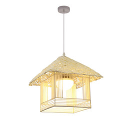 house shape lamp NZ - Country Rustic Restaurant Hallway Pendant Lamp Beige Rattan House Shape Modern Corridor Balcony Hanging Lighting Dining Room Pendant Lamps