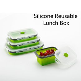 Wholesale Silicone Meal Prep Container Silica gel lunch box Reusable Microwave Oven Foldable Lunch Box ml Bento Box Salad Bowl Camping tableware