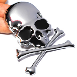 Discount skull car accessories 7.2x6CM 3D Metal Skull Skeleton Crossbones Car Motorcycle Sticker Truck Label Emblem Badge Car Styling Decoration Accessories