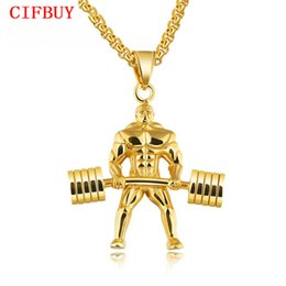 punk male chains UK - Punk Dumbbells Weightlifting Pendant Necklaces For Men 3 Colors Stainless Steel Box Chain Male Hercules Championship GX1218