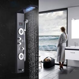 Wholesale Bathroom Shower faucet LED Waterfall Rain Shower Panel Massage Jets Tub Shower Column Mixer Tap for bar