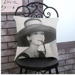 Green Office Chairs Australia - New Arrival Vintage Audrey Hepburn Decorative Pillow Cover Romantic Elegant Woman Cushion Cover For Office Chair