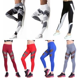 Discount white stitched leggings - Yoga Pants Plus Size Women Sexy Leggings Sport Pants Running Jogging Fitness See-through Mesh Stitching High Elastic Gym