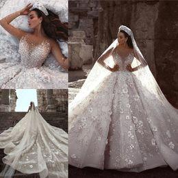 Wholesale 2019 Designer Glamorous Long Sleeves D Floral Applique Flowers Pearls Wedding Dresses Arabic Beadings Bridal Gowns Vestidos De Novia BC0151