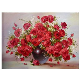 Discount rose painting wall decor - Red Rose Square Diamond Painting Cross Stitch Christmas Decor for Home Floral Diamond Mosaic Embroidery Wall Decor Festi