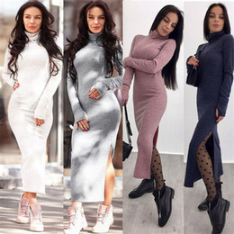 374929678e03 Sweater Dress Autumn Winter New Arrivals Long Sleeve Bodycon Dresses Ladies  Turtleneck split Asymmetrical Knitted Dress