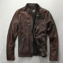 mens vintage leather motorcycle jackets Canada - Simple mens retro leather jacket Washed stone mill Vintage classic brown retro collar motorcycle outwear coat