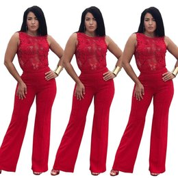 Fashion Party Jumpsuits NZ - 2018 Women Fashion Sexy Boot Cut Lace Patchwork Jumpsuit Lady Night Club Winter Vestidos Rompers Party Bodycon Bandage High Street Playsuits