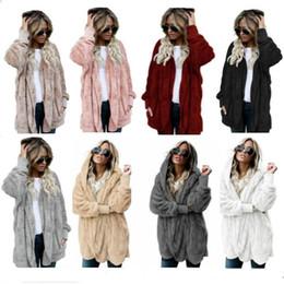 slim double zipper hoodies jackets 2019 - 5XL Women Sherpa Faux Fur Cardigan Hoodies Long Double Side Coat Tops Autumn Winter Keep Warm Soft Plush Sweatshirts Hoo