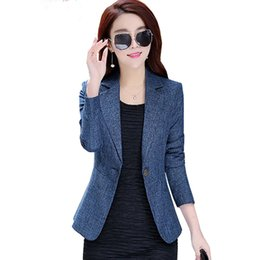 womens business blazers UK - New Spring Autumn Plus Size 4XL Womens Business Suits One Button Office Female Blazers Jackets Short Slim Blazer Women Suit