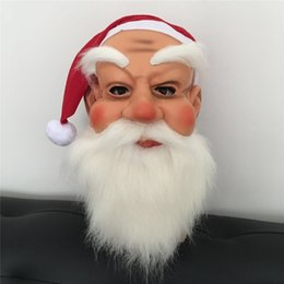 Play Toys For Men Australia - Christmas Cosplay Head Mask Santa Claus Role-playing Beard Mask Kindergarten Children Kids Face Toys Masks for Xmas Festival Party Gift