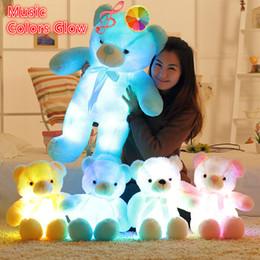 Discount large stuff teddy bears - Newest 30 50 80cm Led Teddy Bear Music Stuffed Animals Plush Toys Large Doll Music Glowing Colorful Cute Toy Children Gi