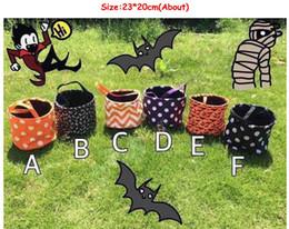 $enCountryForm.capitalKeyWord NZ - free shipping baseball 5 Styles New Designs Stripe Halloween Printed Buckets Halloween Tote Bag Trick or Treat Candy Gift Bag 23*20cm