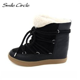 Hot Sale 2018 Winter Boots Women Shoes Hidden Wedge Heels Boots Women  Elevator Shoes Lace-up Casual Shoes For Women Ankle Boots 8cb0e2ecd7aa