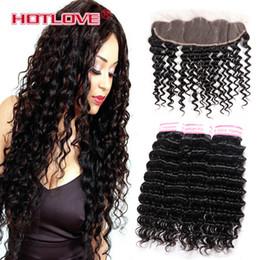 Cheap 13 Inch Australia - Cheap Malaysian Virgin Human Hair Bundles with Closure 13*4 inch Deep Curly Wave Human Hair Extensions 3 Bundles with Lace Frontal Free Part