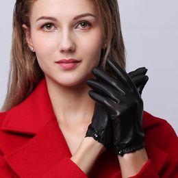 $enCountryForm.capitalKeyWord Australia - NEW Genuine Leather Gloves Female Autumn Winter Short Style Sheepskin Gloves Fashion Simple Five Finger Driving Mittens NW95
