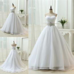 $enCountryForm.capitalKeyWord NZ - White Sweetheart Beck A-line Wedding Dresses Organza Lace Up Back Sweep Train Princess Simple Bride Bridal Dress Gown Wedding Gowns