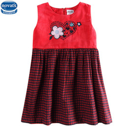 baby girls tops designs UK - novatx H6062 2017 new design hot sale wool top grid corduroy baby girl dress with flower sleeveless spring children dresses