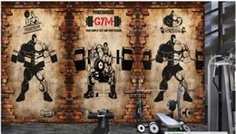$enCountryForm.capitalKeyWord Australia - Wholesale-custom photo wall mural wallpaper non-woven wallpaper 3d nostalgic brick wall vintage sport fitness club weightlifting backdrop