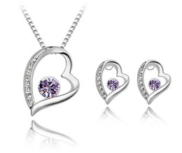 $enCountryForm.capitalKeyWord Australia - 2019 New Classic Crystal heart-shaped Necklace Earring sets For Women Fine Jewelry Gift party dress accessories